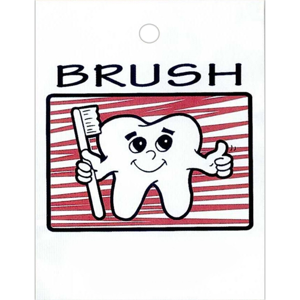 "Brush With Tooth And Toothbrush Design - Stock Design Single Wall 9"" X 12"" Litter Bag With Front Opening, Health Design Photo"