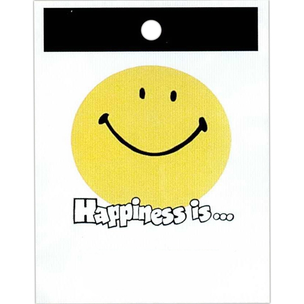 "Happiness Is... And Smile Face Design - Stock Design Single Wall 9"" X 12"" Litter Bag With Happiness Theme Photo"