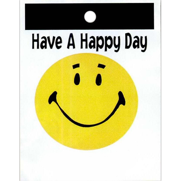 "Have A Happy Day With Yellow Happy Face - Stock Design Single Wall 9"" X 12"" Litter Bag With Happiness Theme Photo"
