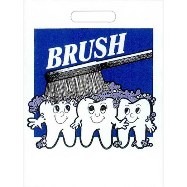 """brush"" With Teeth And Toothbrush - Stock Design 2.0 Mil Plastic Take Home Bag, 9"" X 13"" Photo"