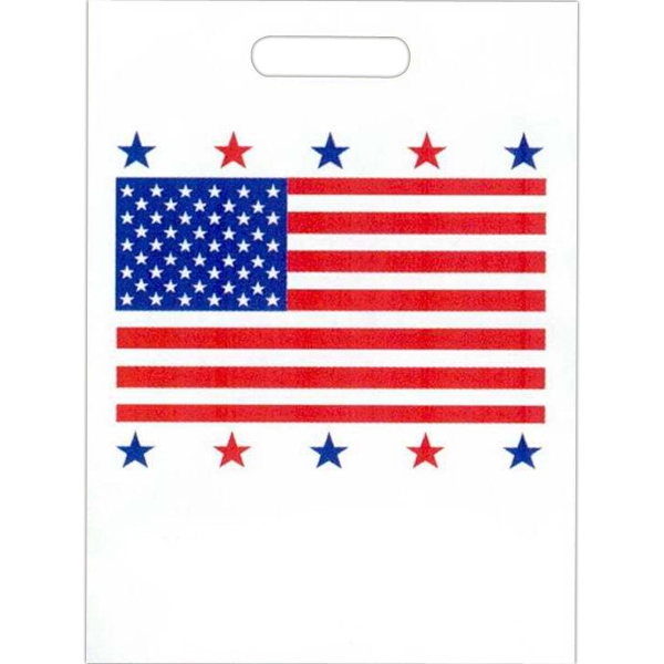 "American Flag Design - Stock Design 2.0 Mil Plastic Take Home Bag, 9"" X 13"" Photo"