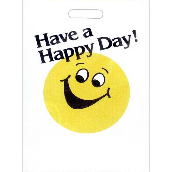 """have A Happy Day"" With Yellow Happy Face - Stock Design 2.0 Mil Plastic Take Home Bag, 11"" X 15"" Photo"