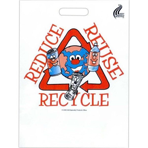 "Reduce Reuse Recycle - Stock Design 2.0 Mil Plastic Take Home Bag, 11"" X 15"" Photo"