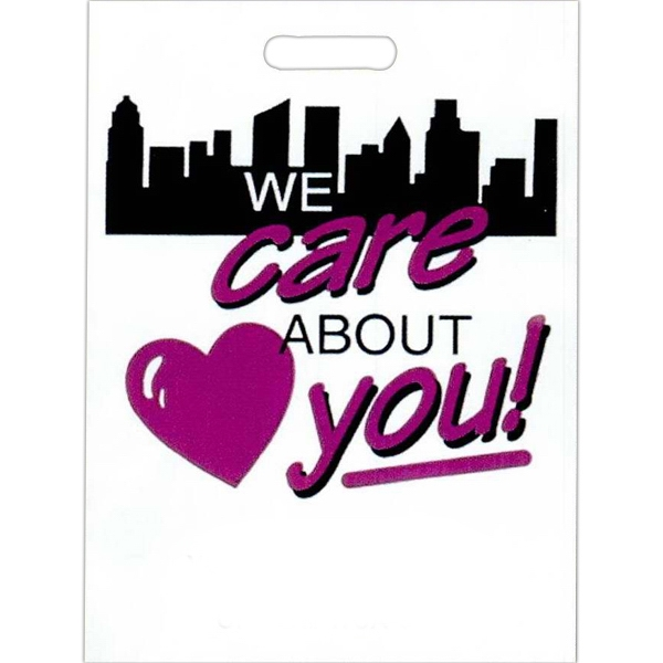 """we Care About You"" With Heart And Skyline - Stock Design 2.0 Mil Plastic Take Home Bag, 11"" X 15"" Photo"