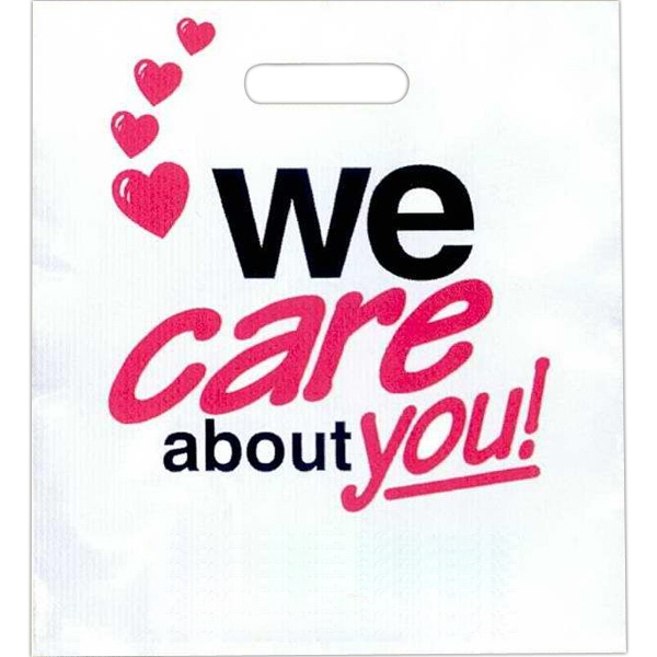 """we Care About You"" With Red Hearts - Stock Design 2.0 Mil Plastic Take Home Bag, 13 1/2"" X 15"" Photo"