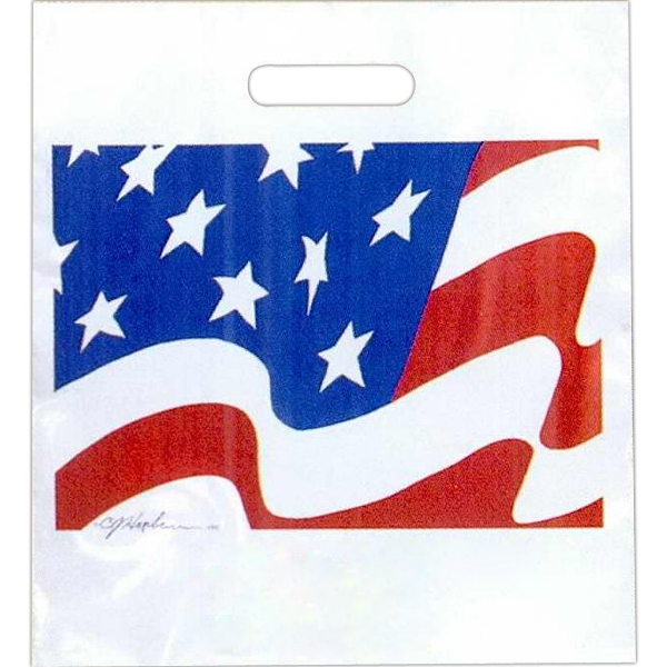 "American Flag - Stock Design 2.0 Mil Plastic Take Home Bag, 13 1/2"" X 15"" Photo"
