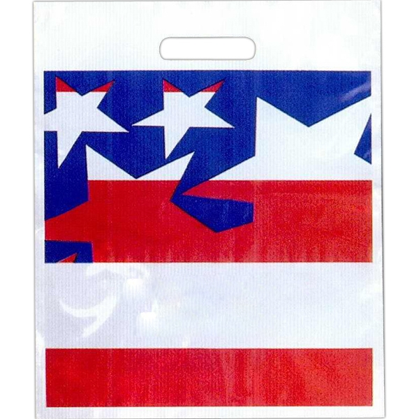 "Red, White And Blue Stars - Stock Design 2.0 Mil Plastic Take Home Bag, 15"" X 18"" Photo"