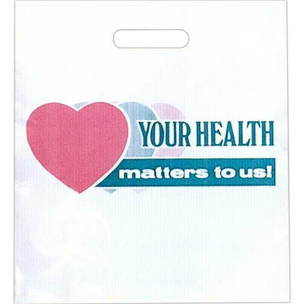 """your Health Matters To Us"" With 3 Hearts - Stock Design 2.0 Mil Plastic Take Home Bag, 13 1/2"" X 15"" Photo"