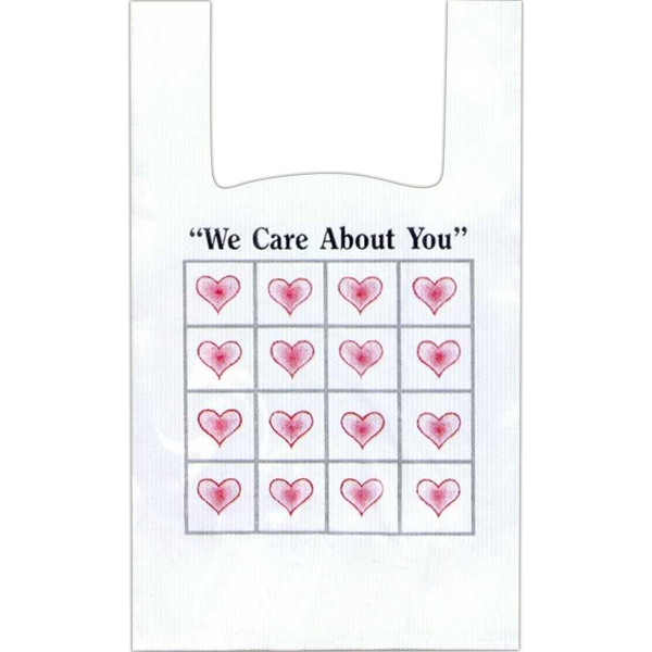 """we Care About You"" With Grid Of 16 Pink Hearts - 12"" X 6"" X 18"" - Stock Design T-shirt Grip Bag With 6"" Side Gusset Photo"
