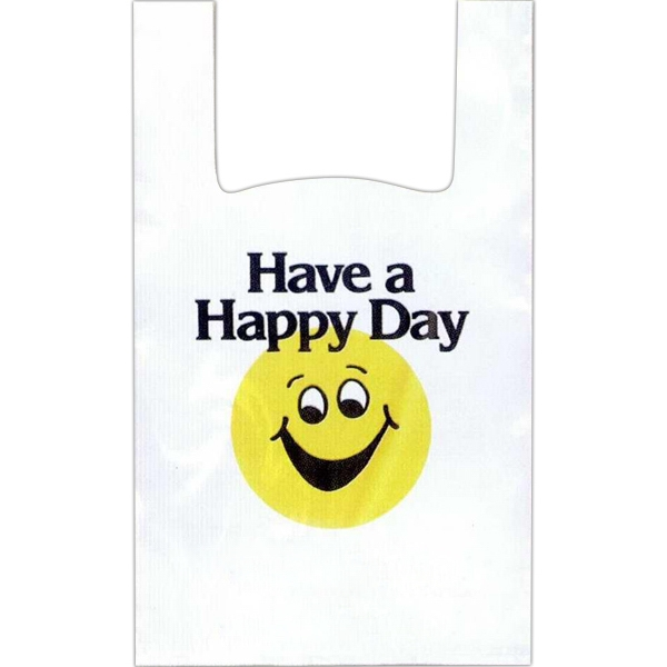 """have A Happy Day"" In Black With Yellow Happy Face - 12"" X 6"" X 18"" - Stock Design T-shirt Grip Bag With 6"" Side Gusset Photo"