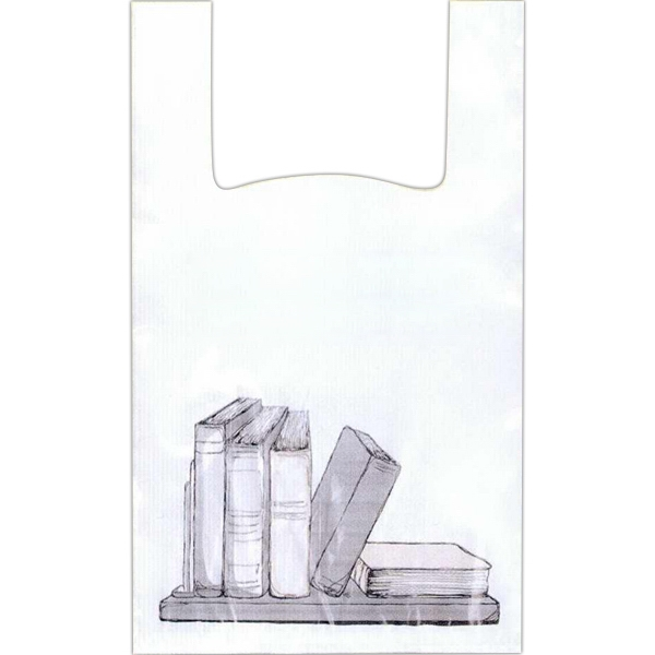 "Books On Shelf - 12"" X 6"" X 18"" - Stock Design T-shirt Grip Bag With 6"" Side Gusset Photo"