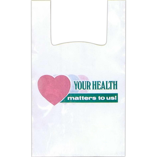 """your Health Matters To Us"" In Green With Pink And Green Hearts - 12"" X 6"" X 24"" - Stock Design T-shirt Grip Bag With 6"" Side Gusset Photo"