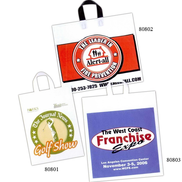 "11"" X 15"" - Custom Printed Soft Loop Handle Bag With 4"" Bottom Gusset Photo"