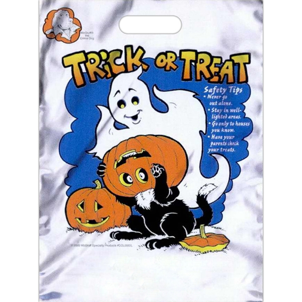 "Trick Or Treat With Cat, Pumpkin And Ghost - Low Density Polyethylene Plastic Halloween Bag With Free Safety Tips. 11"" X 15"" Photo"