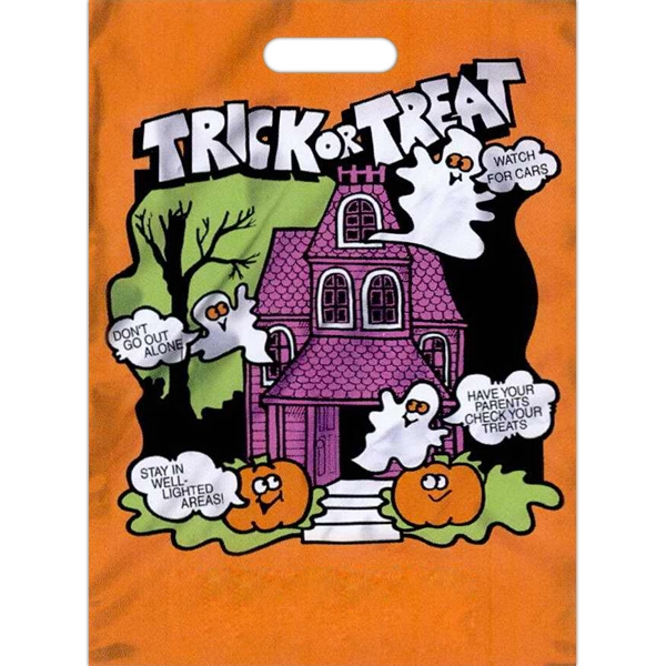 "Halloween Bag With ""trick Or Treat"" Text And Safety Tips On Front, 11"" X 15"" Photo"