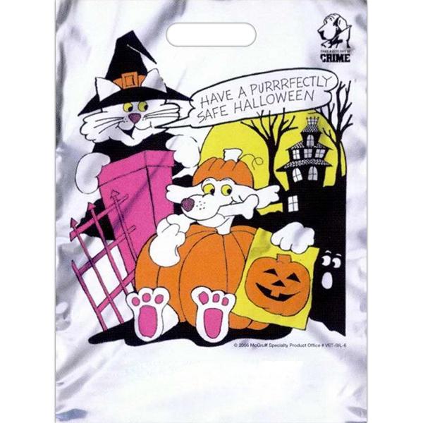 "11"" x 15"" Stock Design Halloween Bag - 3.0 mil plastic Halloween bag with free safety tips. 11"" x 15""."