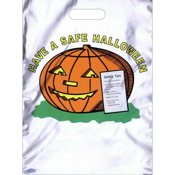 "Have A Safe Halloween With Pumpkin And Safety Tip On Front - Low Density Polyethylene Plastic Halloween Bag With Free Safety Tips. 11"" X 15"" Photo"