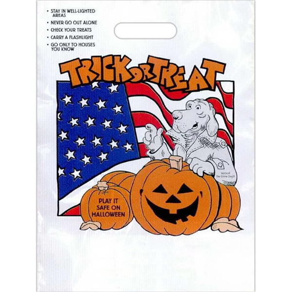 """trick Or Treat"" In Orange With Jack. - Stock Design 11"" X 15"" Halloween Trick-or-treat Bag Photo"