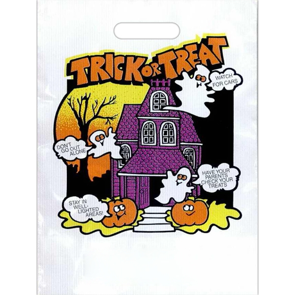 """trick Or Treat"" In Orange With Haunted House And Ghosts - Stock Design 11"" X 15"" Halloween Trick-or-treat Bag Photo"