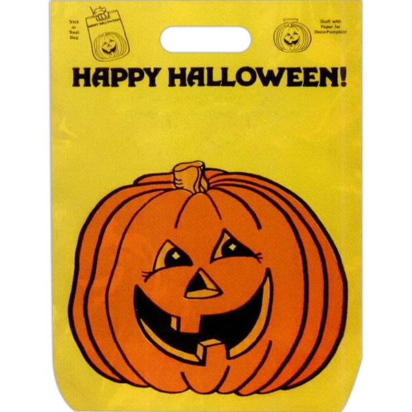 """happy Halloween"" With Pumpkin Face - Stock Design 11"" X 15"" Halloween Trick-or-treat Bag Photo"