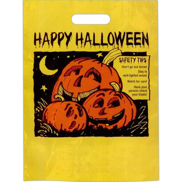 """happy Halloween"" In Black With 3 Pumpkins And Safety Tips - Stock Design 11"" X 15"" Halloween Trick-or-treat Bag Photo"