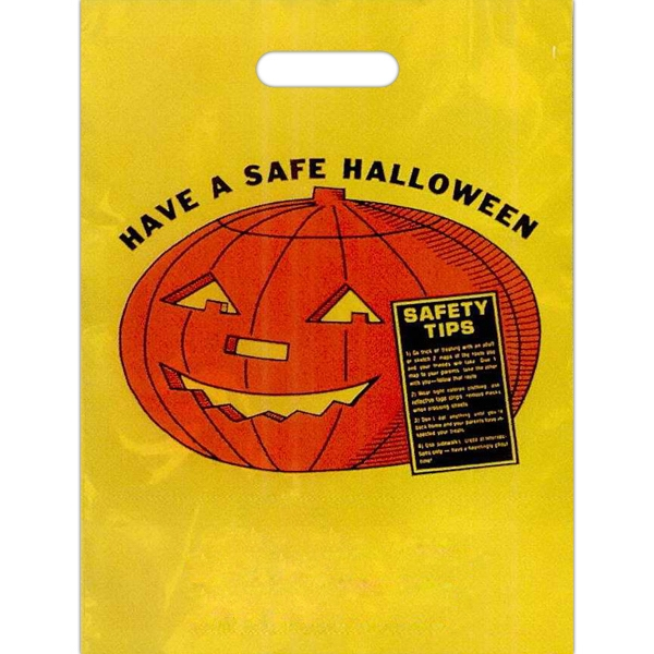 """have A Safe Halloween"" In Black With Jack-o-lantern And Safety Tips - Stock Design 11"" X 15"" Halloween Trick-or-treat Bag Photo"
