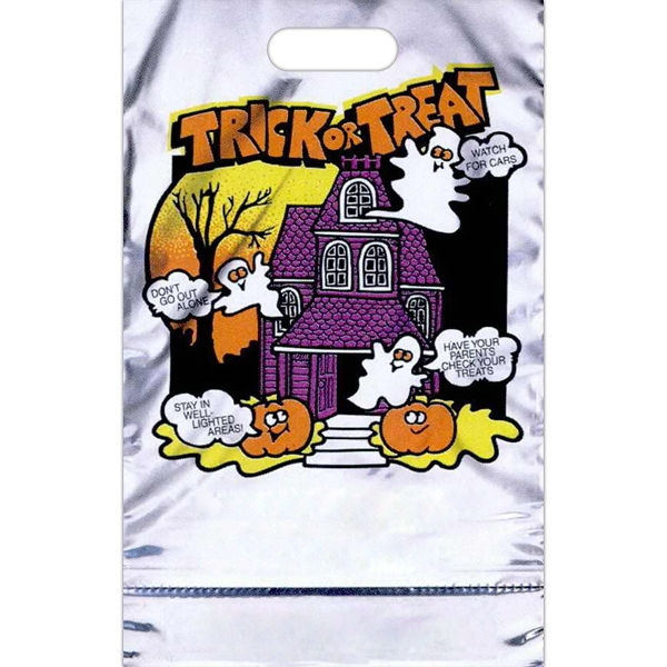 """trick Or Treat"" With Ghosts And House - Reflective Metallic Halloween Bag With A Perforated Coupon Photo"