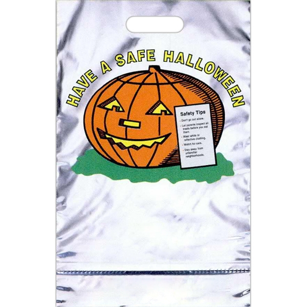 """have A Safe Halloween"" With Pumpkin - Reflective Metallic Halloween Bag With A Perforated Coupon Photo"