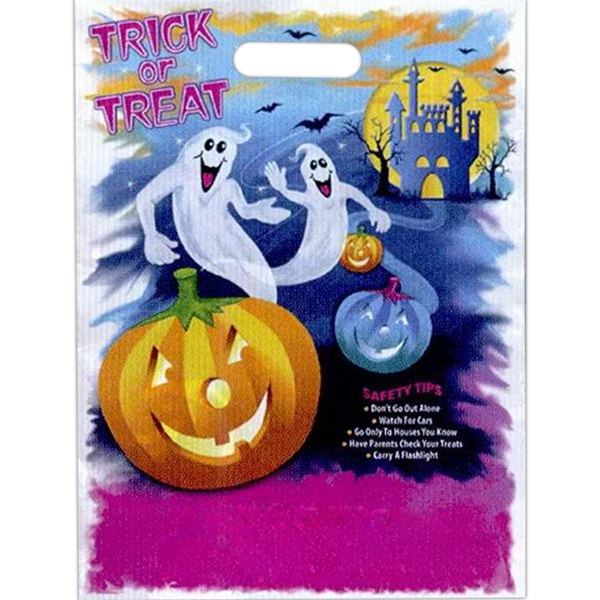 """trick Or Treat"" With Pumpkin, Ghosts, And Haunted House. - Stock Design Full Color Halloween Bag, 11"" X 15"" Photo"