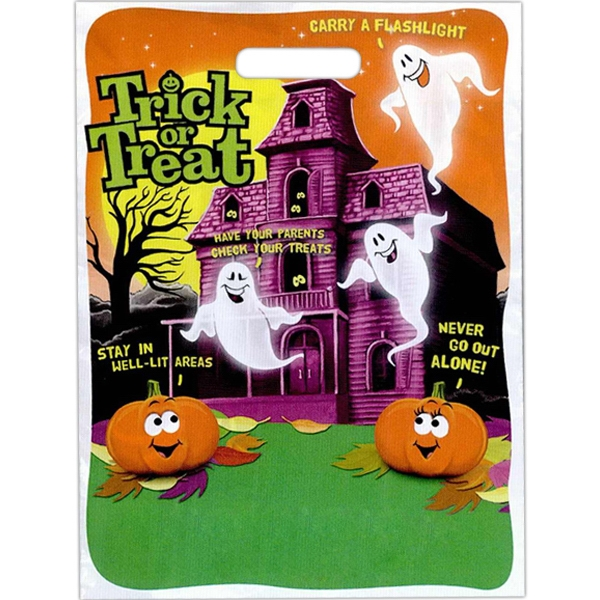 """trick Or Treat"" With Haunted House, Ghosts, And Pumpkins. - Stock Design Full Color Halloween Bag, 11"" X 15"" Photo"