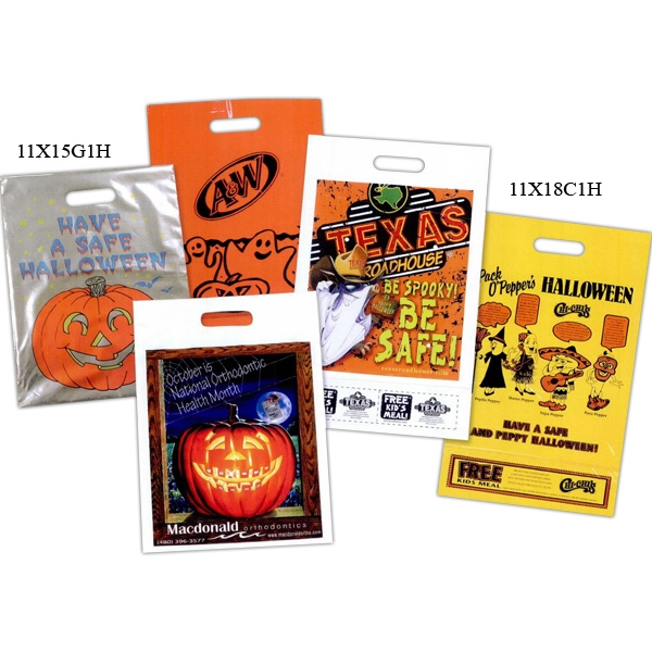 Custom Printed Plastic Coupon Style Halloween Bag - Single wall plastic Halloween bag with die cut handle and bottom coupon.