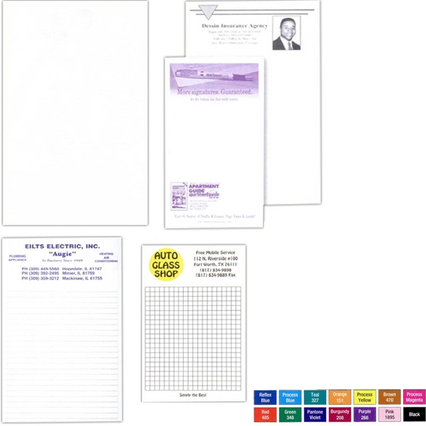 "25 - Sheet Note Pad. - Custom Printed 3 3/8"" X 5 1/2"" Note Pad Of 15 Lb. Bond Photo"