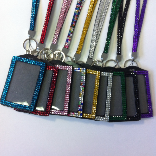"Bling Rhinestone Lanyards 1/2"" with Badge Holders"