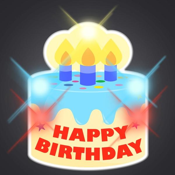 Happy Birthday Cake LED Pin Blinkies