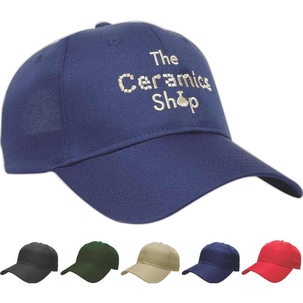 Value Series - Solid Polyester Six Panel Structured Cap With Two Piece Velcro Photo