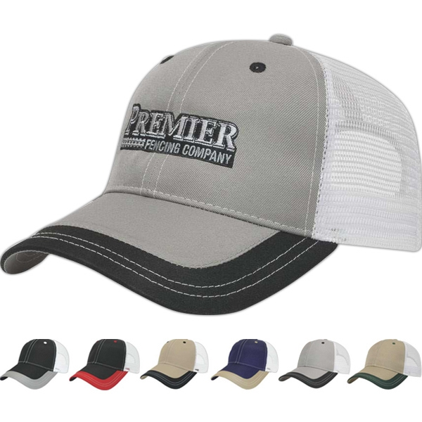Value Series - Polyester Mesh Back Six Panel Structured Cap With Two Piece Velcro Photo