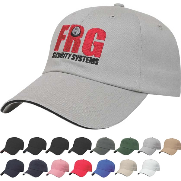Value Series - Low Profile Six Panel Unstructured Sandwich Visor Cap With Two Piece Velcro Photo