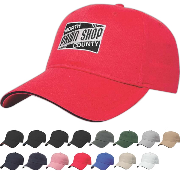 Value Series - Low Profile Six Panel Structured Sandwich Visor Cap With Two Piece Velcro Photo