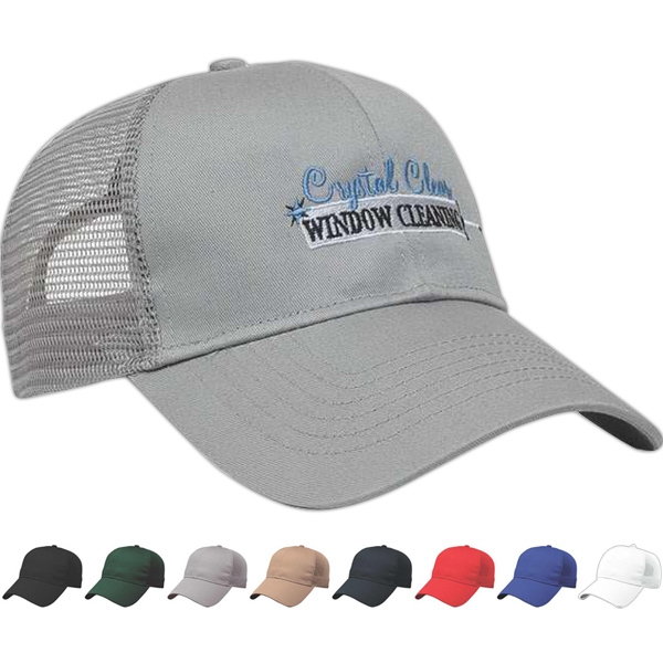 Value Series - Medium Profile Six Panel Structured Cap With Mesh Back And Plastic Snap Tab Photo