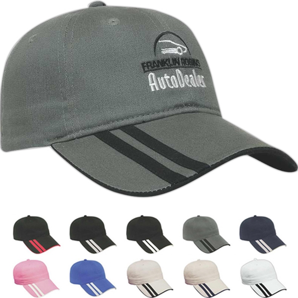 Value Series - Low Profile Six Panel Unstructured Cap With Double Applique Stripes On Visor Photo