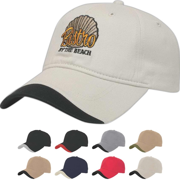 Value Series - Low Profile Six Panel Unstructured Cap With Contrasting Wave Insert On Visor Photo