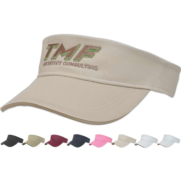 Value Series - Medium Weight Cotton Twill Tennis Visor With Two-piece Velcro Photo