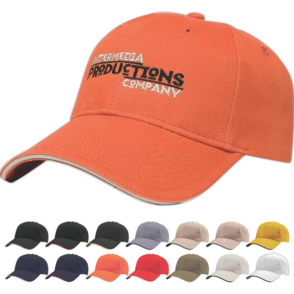 Classic Series - Medium Profile Six Panel Structured Cap With Contrasting Sandwich Visor Photo