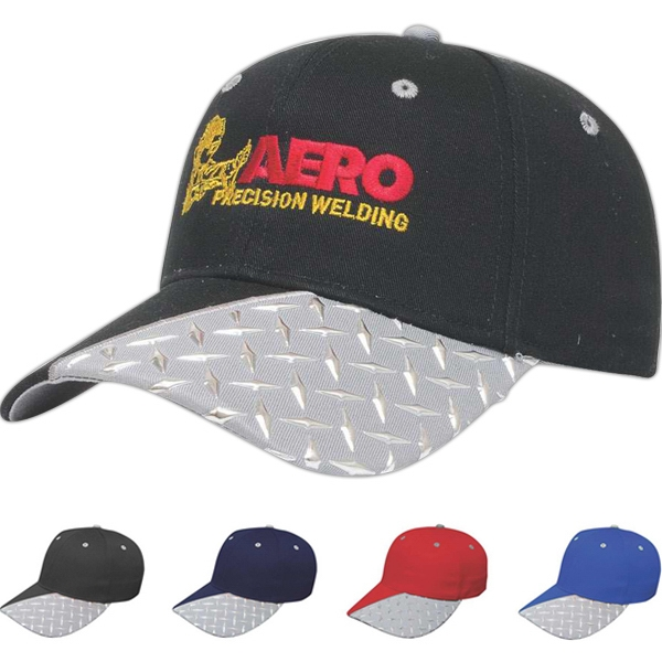 Classic Series Tread Plate - Medium Profile Six Panel Structured Cap With Liquid Metal Tread Plate Design Photo
