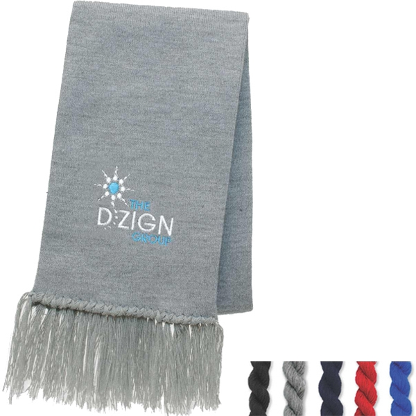 Usa Knit Series - Embroidery - Knit Scarf With Fringe Photo