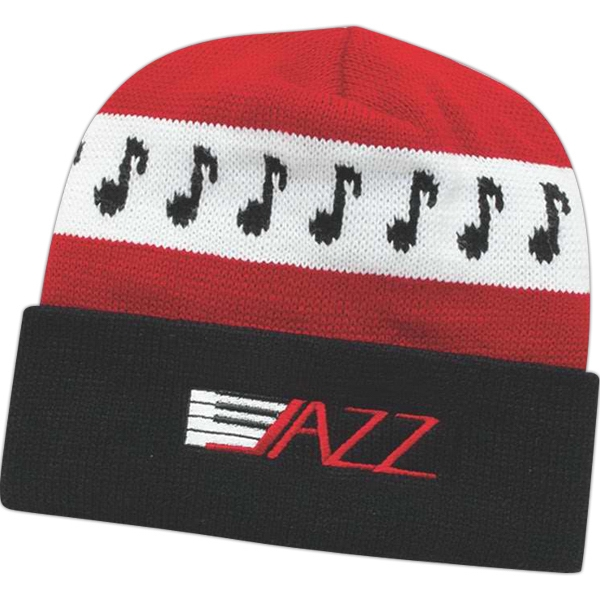 Usa Knit Series - Embroidery - Contemporary Style Jacquard Knit Cap With Cuff Photo