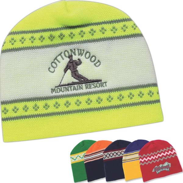 Usa Knit Series - Silkscreen - Contemporary Style Jacquard Knit Cap Photo