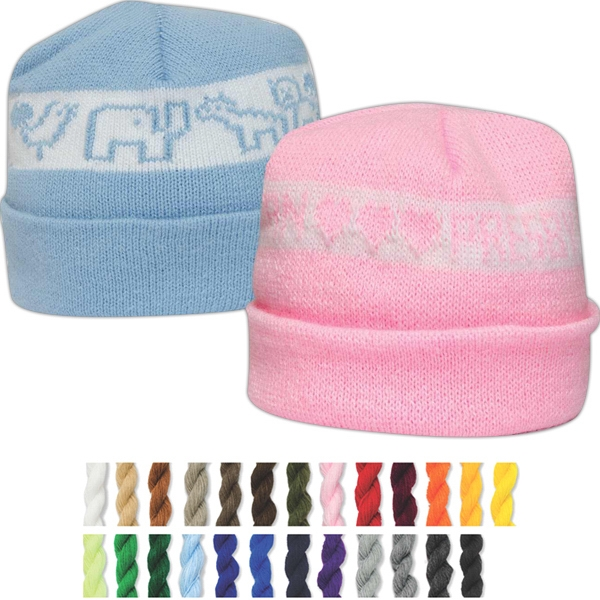 Snuggle Caps (tm) Usa Knit Series - It's A Girl - Cotton Jacquard Knit Cap Washed And Tumbled For Softness. For Infants Photo