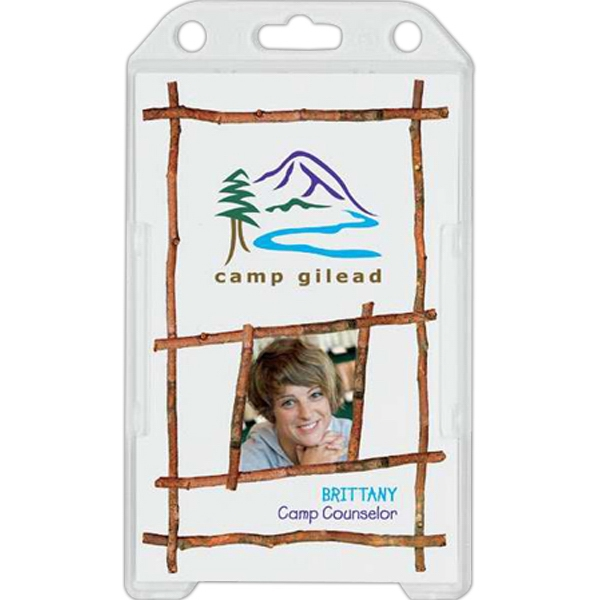 "Plastic Dual Side Id Holder With Vertical Load. Insert Size: 2 1/8"" X 3 3/8"" Photo"