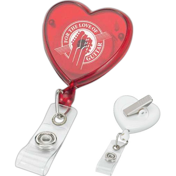 Heart Shaped Retractable Badge Reel With Swivel Bulldog Clip Photo